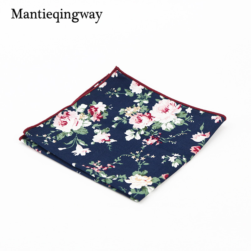 Mantieqingway Leisure Style Cotton Floral Handkerchiefs 23*23 Cm Pocket Square Towel Wedding Hanky For Mens Suit Accessories