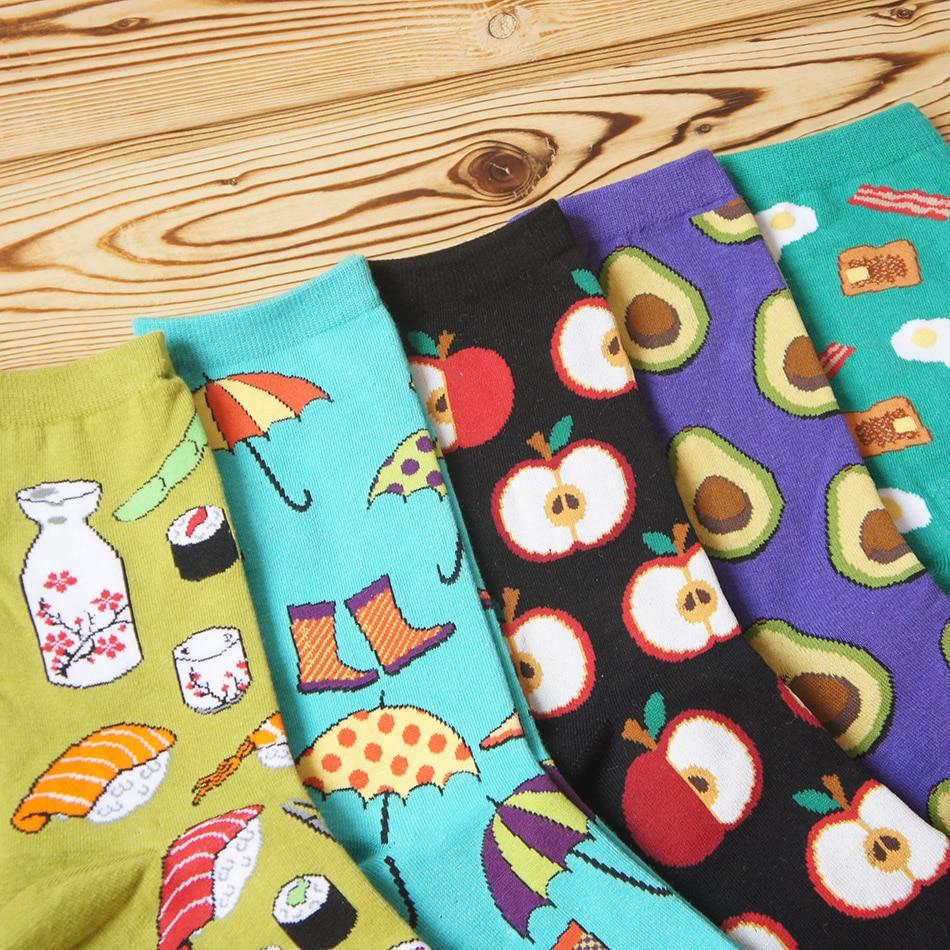 Foot 22 27cm Socks Food Delicious Omelette Fruit Sushi Sake Doughnut Lollipop Salmon Avocado Apples Cupcake