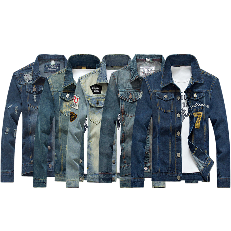 New 2016 Military Style Fashion Denim Jacket Men Hole