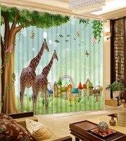 아이 방 커튼 만화 동물 침실 거실 창 커튼 폴리 에스테르/면 사진 커튼