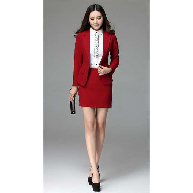 c0959d93be5 New Red Womens Business Skirt Suits Female Office Uniform Formal Dinner  Suits Ladies Office Business Suit B343-in Skirt Suits from Women's Clothing  on ...