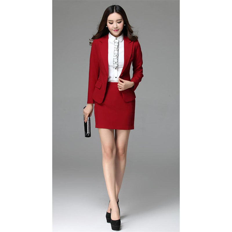 New Red Womens Business Skirt Suits Female Office Uniform Formal Dinner Suits Ladies Office Business Suit B343