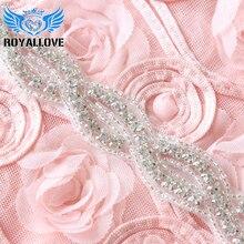 RoyalLove 1 ярд ручной работы пришить Свадебный пояс-кушак чистое серебро Кристалл Rhinestone Аппликации отделка для ремня Свадебные платья аксессуар