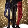 Roupas de inverno 2016 de forma magro cintura alta das mulheres quente para baixo calças calças de couro das mulheres
