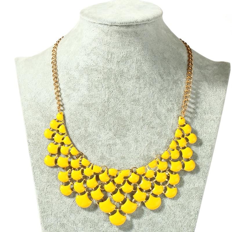 Neon Yellow Metal Beaded Choker Necklace Women
