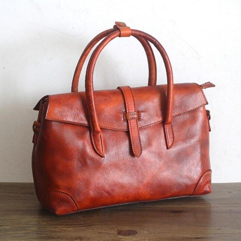 US $65.65 50% OFF|Frauen Vintage Echtem Leder Taschen Handtaschen Frauen Berühmte Marken Casual Frauen Tote Marke Umhängetasche Damen Ursprünglichen