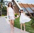 Семья соответствующие одежды цельный белый твердые платье семейный отпуск мать дочь платья