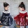 Cordón de la muchacha del vestido de 2017 nuevo vestido de la princesa engrosamiento O-cuello caliente niñas vestido de invierno