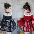 Girl lace dress 2017 new princess dress thickened O-neck warm girls winter dress