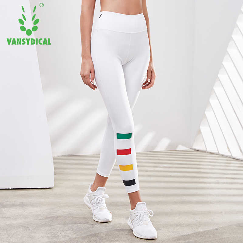 High Waist Yoga Pants Vansydical Running Tights Women Fitness Gym Stretch Trousers Female Workout Sports Leggings