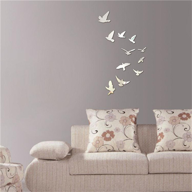 Silver Acrylic Birds Design Mirror Effect Wall Sticker Artistic Modern Home  Room Decor Decoration Craft Stickers