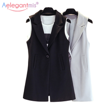 Aelegantmis Classic Long Vest Women Elegant Suit Vest Spring Autumn Sleeveless Jackets Outerwear Office Lady Slim Waistcoat cheap Polyester spandex 9W111 Button Pockets Solid Turn-down Collar Casual Outerwear Coats Single Button