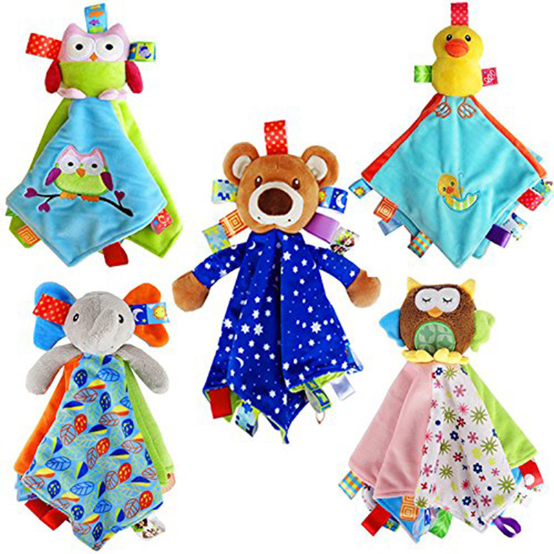 Soft Animal Appease Towel Baby Plush Rattle Blankie Of Infant Comforter Appease Toys Bed Sleep Animal Cloth Blanket Cartoon Toys