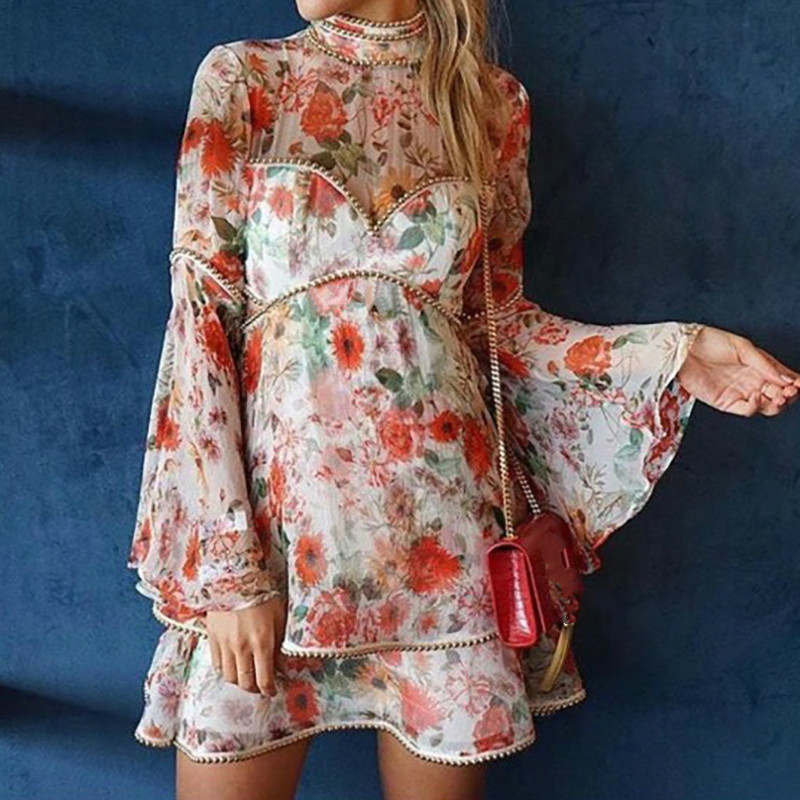 2018 Summer Stand Collar Floral and Rivets Flare Sleeve Chiffon Ruffle Women Dress