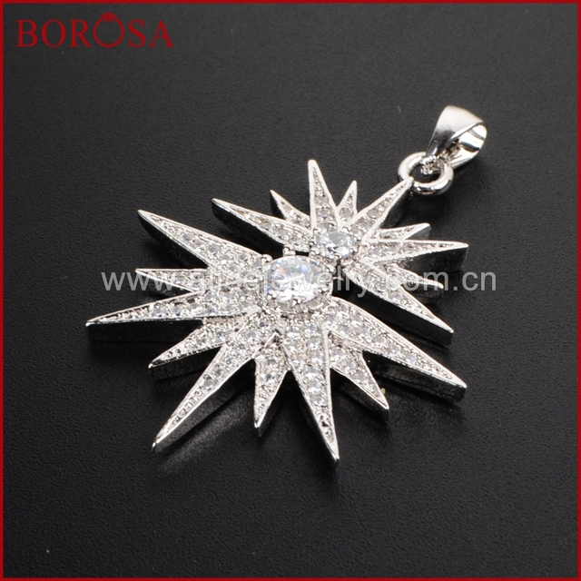Borosa silver merkaba star super sparkly diamante starburst crystal borosa silver merkaba star super sparkly diamante starburst crystal cz micro pave charm druzy pendant druzy aloadofball Image collections