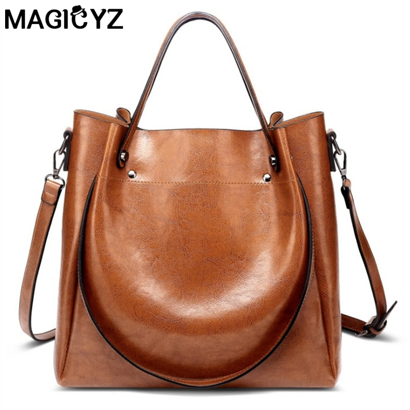 MAGICYZ Fashion luxury ladies messenger bag large capacity simple Office Lady bag Oil wax Womens Leather Handbags
