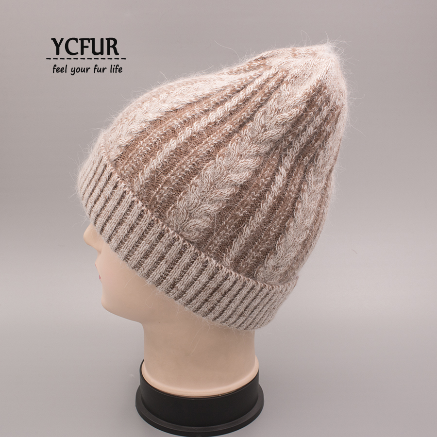 YCFUR Women's Hat Cap Winter Autumn Knit Wool Beanies Caps Female Angora Rabbit Hair Casual Wool Hats Skullies For Girls skullies female rabbit ear hat hat women s hair cap fashion cap winter cap fpc012