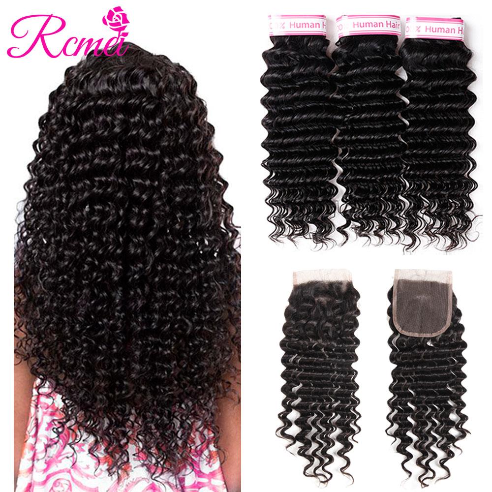 Rcmei Deep Wave Bundles With Closure Brazilian Human Hair Weave 3 Bundles With Lace Closure Non Remy Deep Wave Hair Extensions