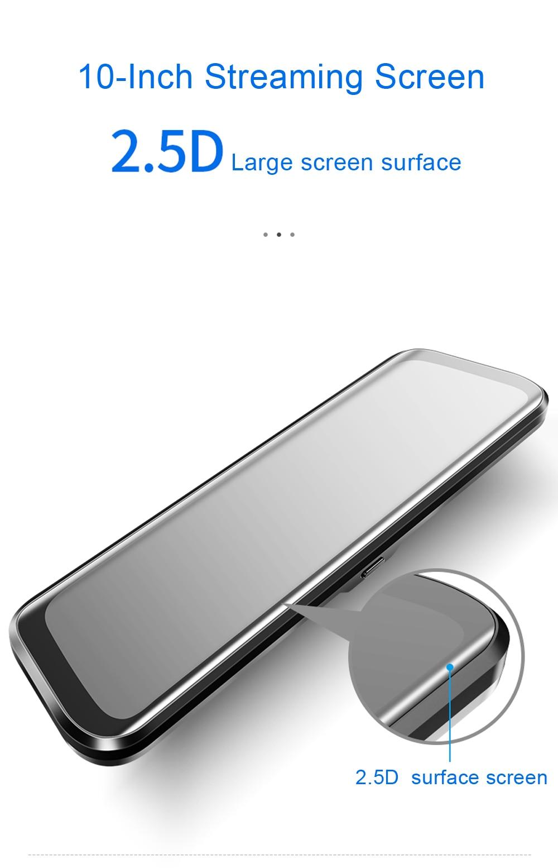 Видеорегистратор 10-дюймовая шпилька для потоковой передачи зеркало Видеорегистраторы для автомобилей Двойной объектив видеорегистраторы Сенсорный экран Full HD 1080P Автомобильная камера видеорегистратор обнаружения движения