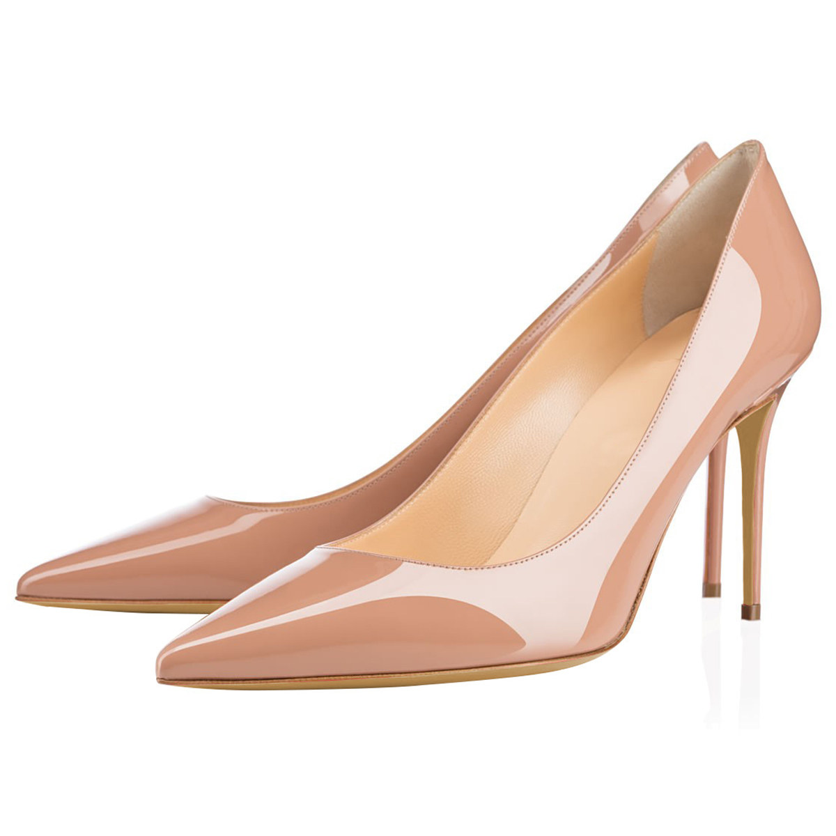Aiyoway 2019 Women Shoes Ladies Pointed Toe High Heels Pumps Autumn Spring Party Work amp Career Shoes Slip On Patent Leather in Women 39 s Pumps from Shoes