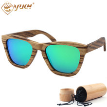 Zebra Wood Frame Sunglasses Handmade Wooden Polarized Driving Sun Glasses Brand Designer REVO Mirrored Glasses Eyewear  W010