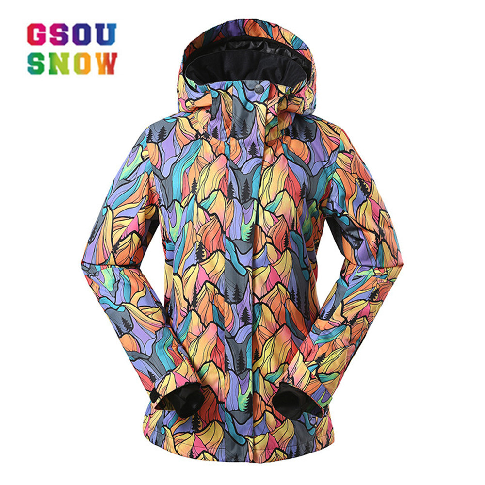 GSOU SNOW Women Ski Jacket  Breathable Girls Snow Jacket Waterproof High-Q Skiing And Snowboarding Warm Jacket Female WindproofGSOU SNOW Women Ski Jacket  Breathable Girls Snow Jacket Waterproof High-Q Skiing And Snowboarding Warm Jacket Female Windproof