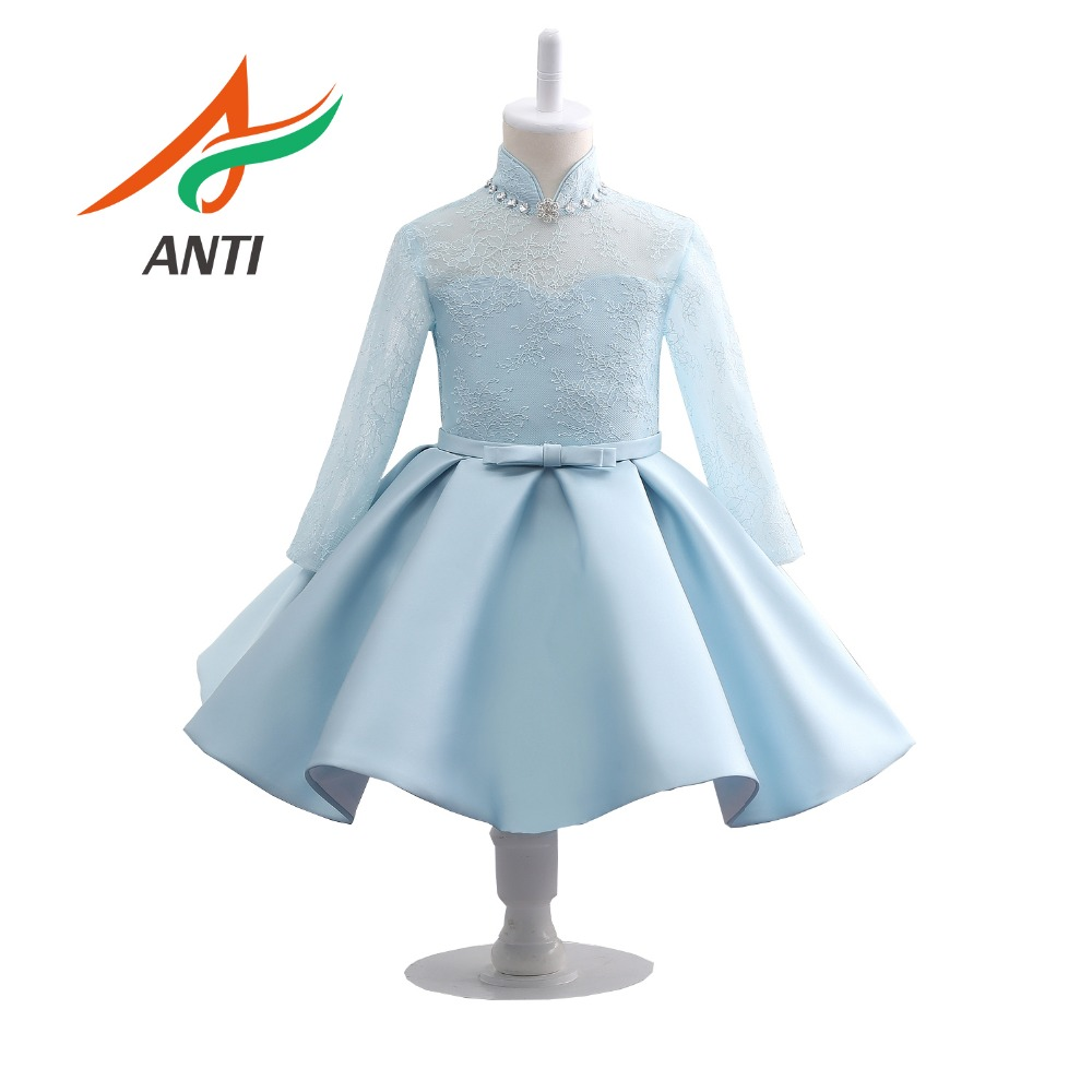 ANTI Hot Sales Bow Lace Flower Girl Dresses High-Collar Full-Sleeve Girls Pageant Dresses First Communion Dresses Party Dress