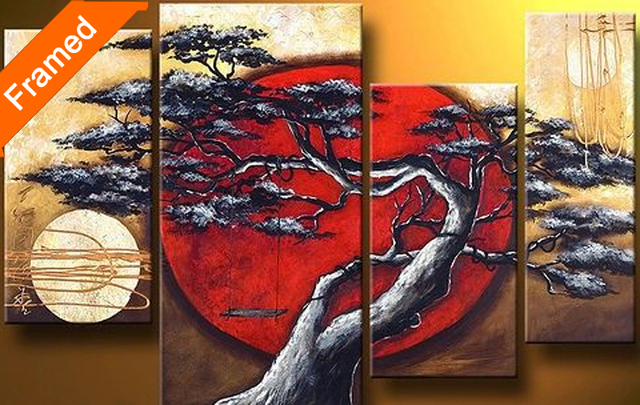 Hot sell Four pcs oil painting (Tree and moon) gallery wrapped ready to hang modern abstract oil painting