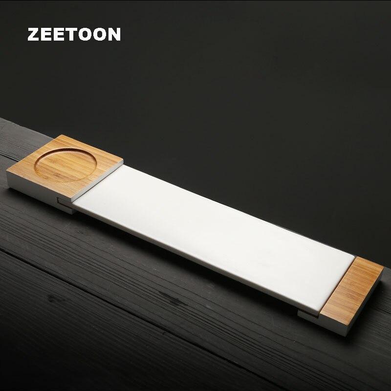 Plateau à thé Zen de Style japonais | Accessoires de service à thé Kung Fu Boutique assiette céramique blanche en porcelaine décor de maison créatif nouveau