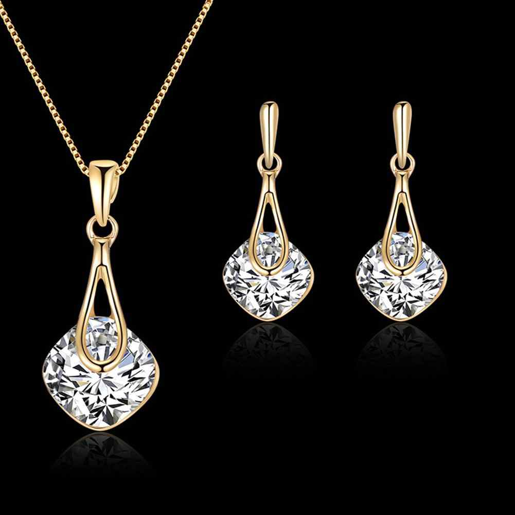 Water Drop Pendant Square Rhinestone Ear Stud Earrings Necklace Lady Jewelry Set dropshipping