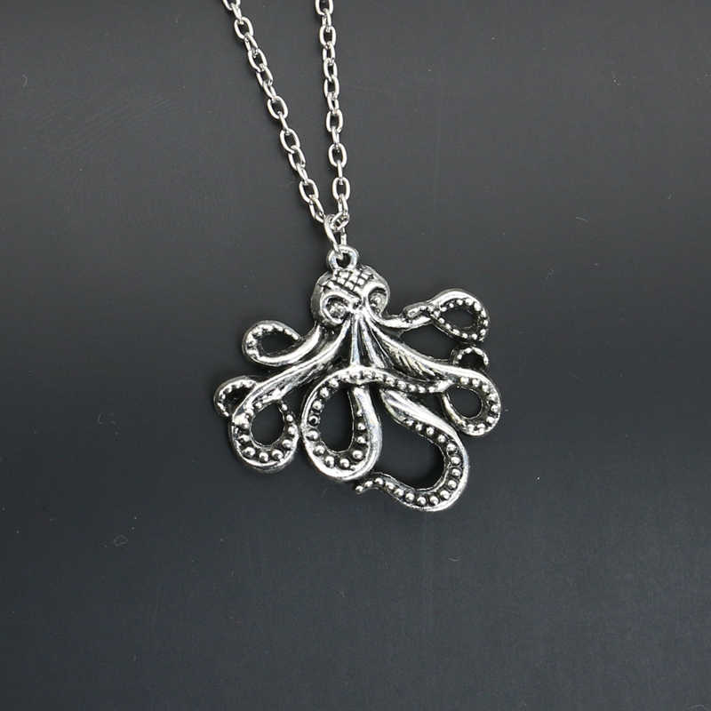 2019 New Fashion Antique Silver Plated Octopus Pendant Necklace Sweater Chain Korea Jewelry Making Craft DIY