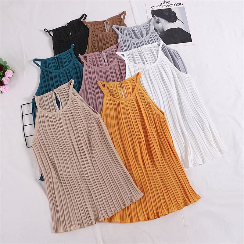 Camisole Long Tops Fashion Ruched Female Women Sleeveless Solid-Color Chiffon Cosy Harajuku-H
