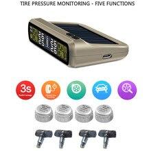 T881 TPMS Sistema de Monitoreo de Presión de Neumáticos de Coches de Energía Solar 6-en-1 Precisa monitor de Conexión Inalámbrica Automática Sensores Incorporados