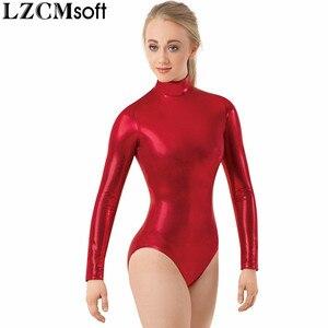 Image 5 - LZCMsoft malla con cuello falso metálica brillante para adultos, maillots de Ballet para actuaciones de gimnasia, manga larga, color negro