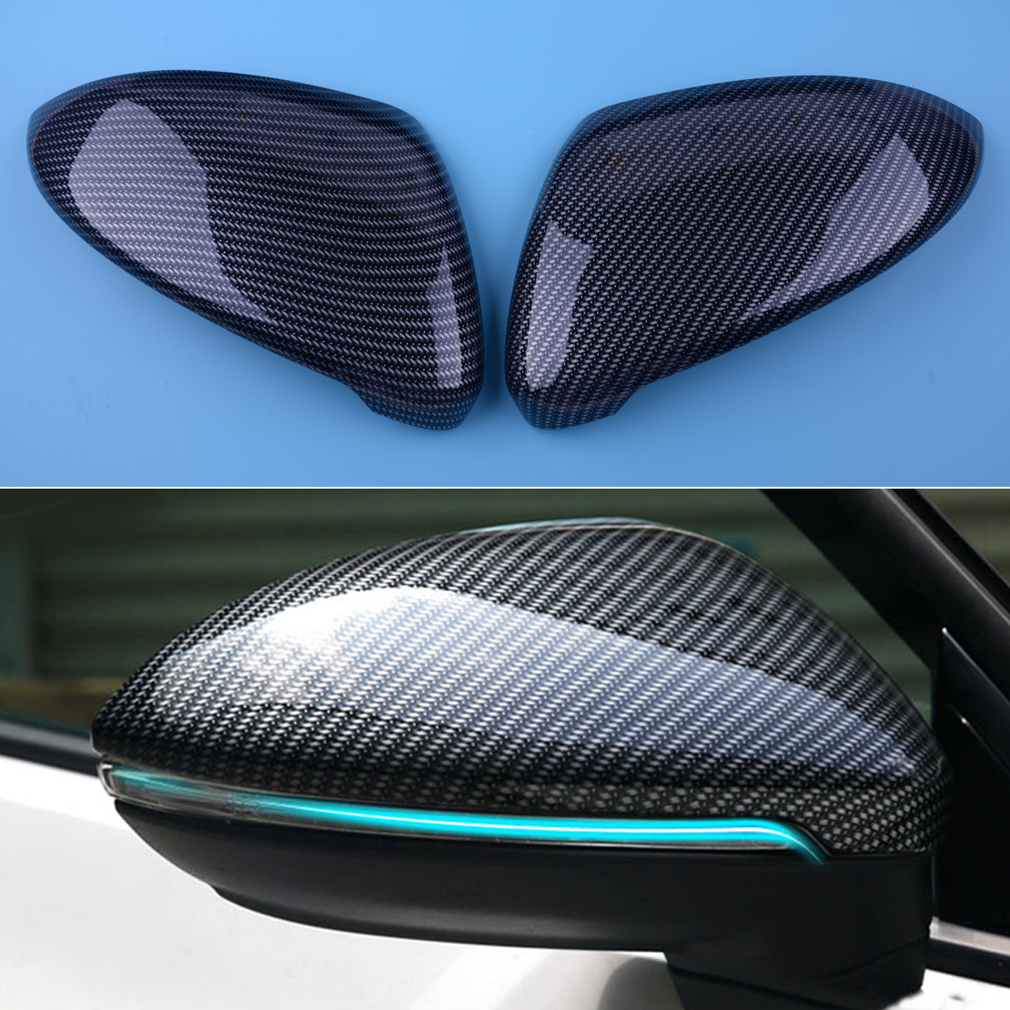 CITALL 2Pcs Black Carbon Fiber Style ABS Side Rearview Mirror Cover Trim fit for VW Golf 7 MK7 2014 2015 2016 2017 2018 2pcs carbon fiber side mirror caps covers set for volkswagen golf mk7 20014 2015