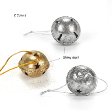 Christmas decorations for home silvery gold 40 pcs shiny dust bell 35 mm metal Christmas tree ball hanging decor