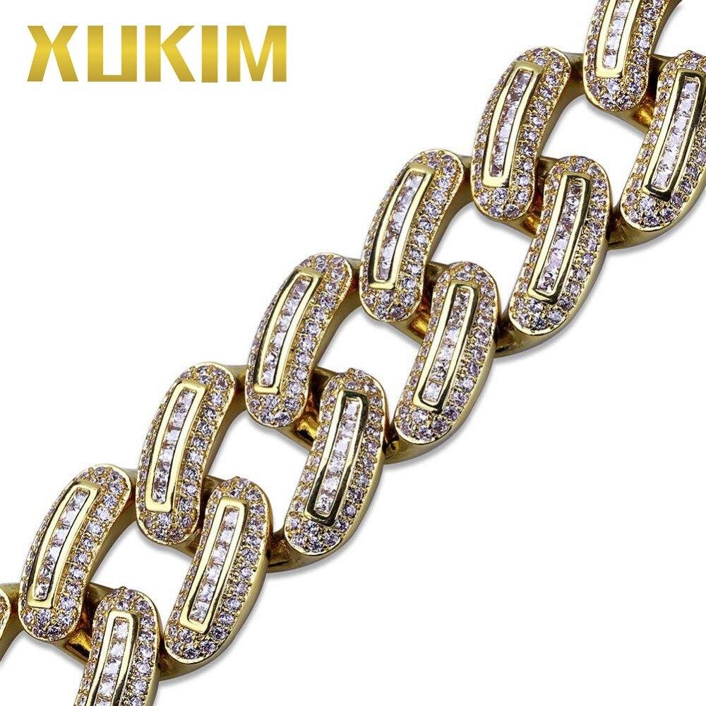 Xukim bijoux Hip Hop plein glacé Micro Pave AAA cubique zircone or couleur lien chaîne hommes Bracelet Bracelet bijoux cadeau fête - 3