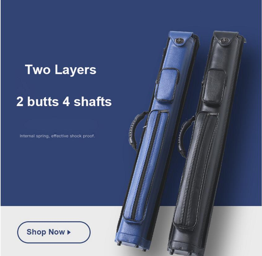 Two Layers PU Billiard Pool Cue Stick Kit Portable Case 2 Butts 4 Shafts/2 Butts 4 Shafts 85cm Length Black Blue Colors ChinaTwo Layers PU Billiard Pool Cue Stick Kit Portable Case 2 Butts 4 Shafts/2 Butts 4 Shafts 85cm Length Black Blue Colors China