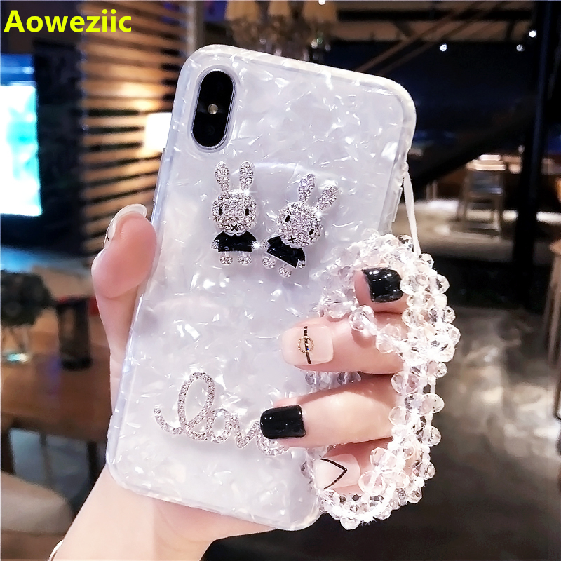 Aoweziic Lanyard For iPhoneX mobile phone shell silicone 8p tide brand iphone7plus new 6S soft sleeve drill female shell Bear