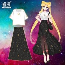 Аниме Сейлор Мун Цукино Косплей шифоновое платье юбка с высокой талией в лето высокое качество + Бесплатная доставка G