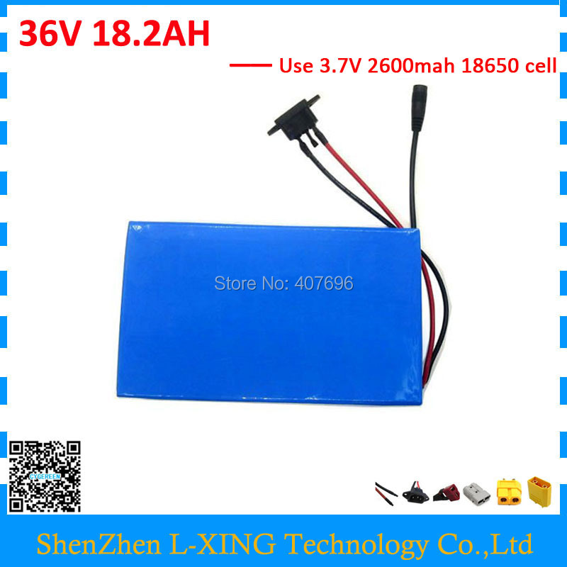 Free customs fee 36V 18.2AH battery pack 500W 36 V 18.2AH electric bike battery use 3.7V 2600mah cell 30A BMS with 2A Charger free customs taxes electric bike 36v 40ah lithium ion battery pack for 36v 8fun bafang 750w 1000w moto for panasonic cell