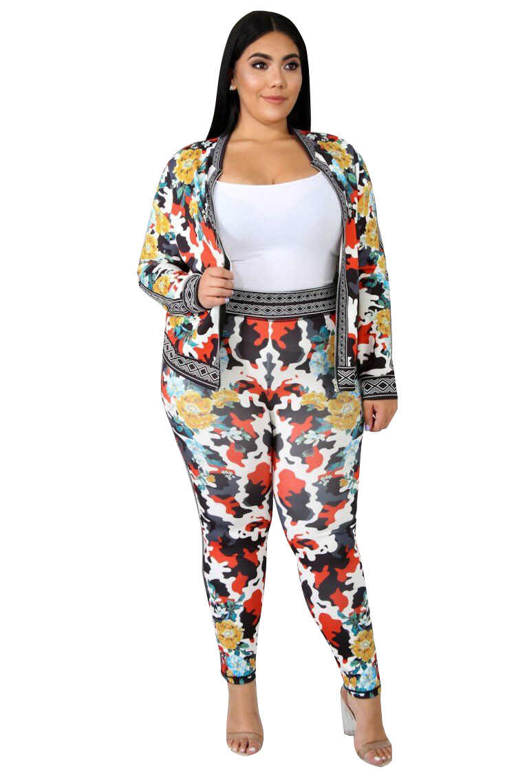 Estampado Floral Casual 2 piezas traje otoño cremallera frontal manga larga abrigos cintura elástica ajustado pantalones señora chándales