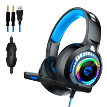 лучшая цена A60 LED Light Stereo Bass Wired Casque Gaming Headset with Mic Vibration Noise Cancelling Gamer Headphones for Computer PS4 xbox