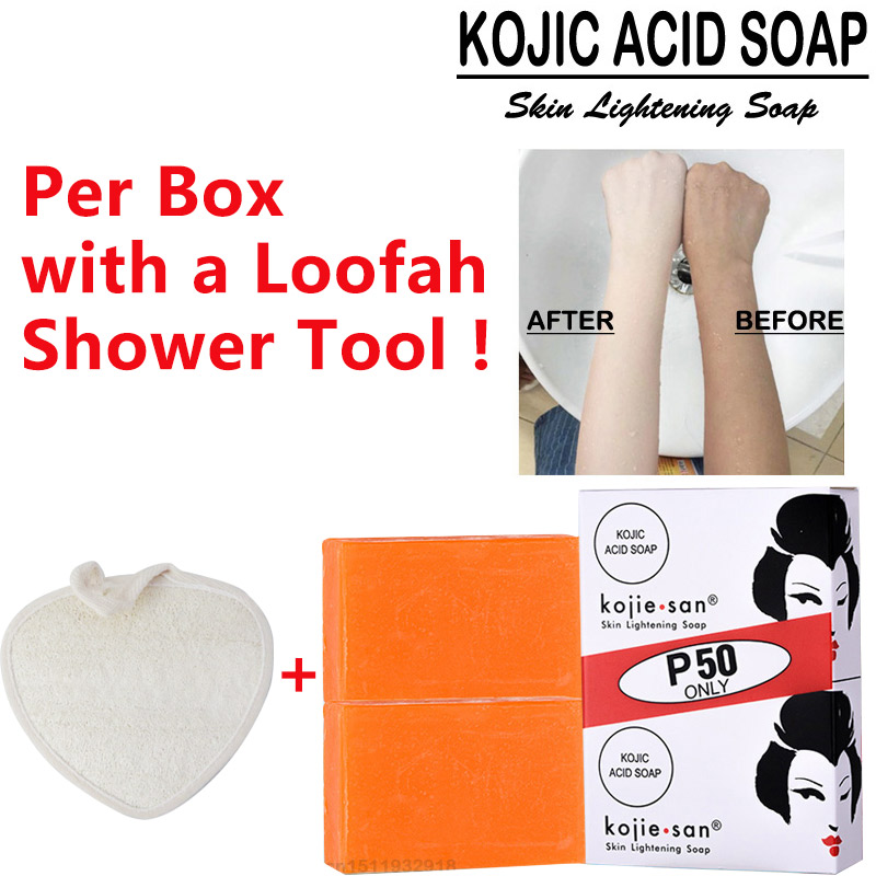 2x65g Kojie San Kojic Acid Glycerin Whitening Soap With Loofah Bath Tool Removing Mites Old Cuticle Bleaching Soap Deep Cleaning