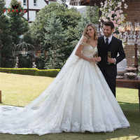 Custom Made Ball Gown Cap Sleeve Fluffy Tulle Lace Beading Luxury Plus Size Bridal Wedding Dresses Vestido de Noiva 2019 WH51M