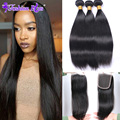 HOT SALE 8A Fashion Plus Hair Peruvian Virgin Hair with Closure Straight Mink Human Hair with Closure Human Hair Bundles Deals