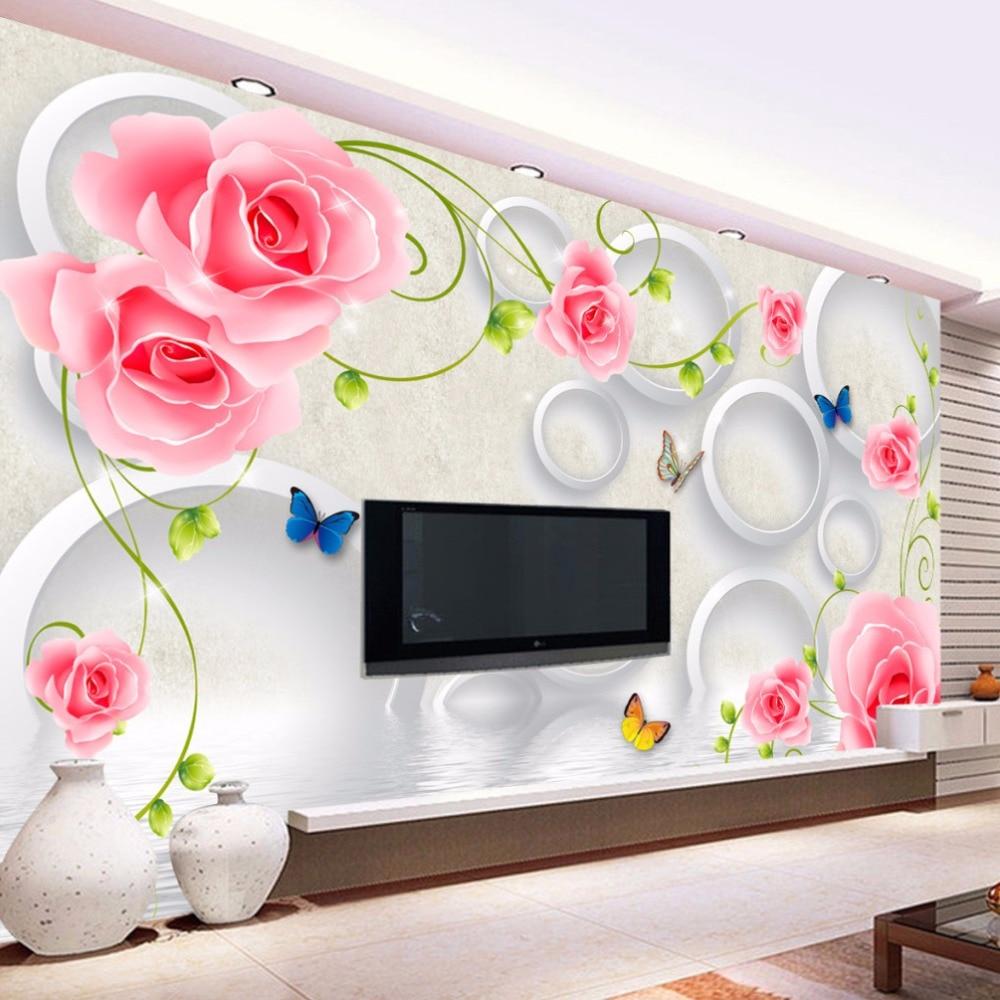 US $8 68 OFF Foto Kustom Kertas Dinding 3D Dinding Mural Wallpaper Modern Seni Lukisan Bunga Mawar 3D Stereoscopic Lukisan Dinding Ruang Tamu