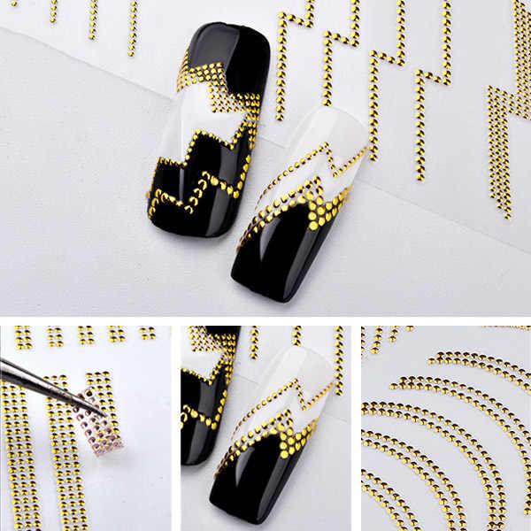 Фото Новый 3D стикер для дизайна ногтей металлический полосатый с волнообразными