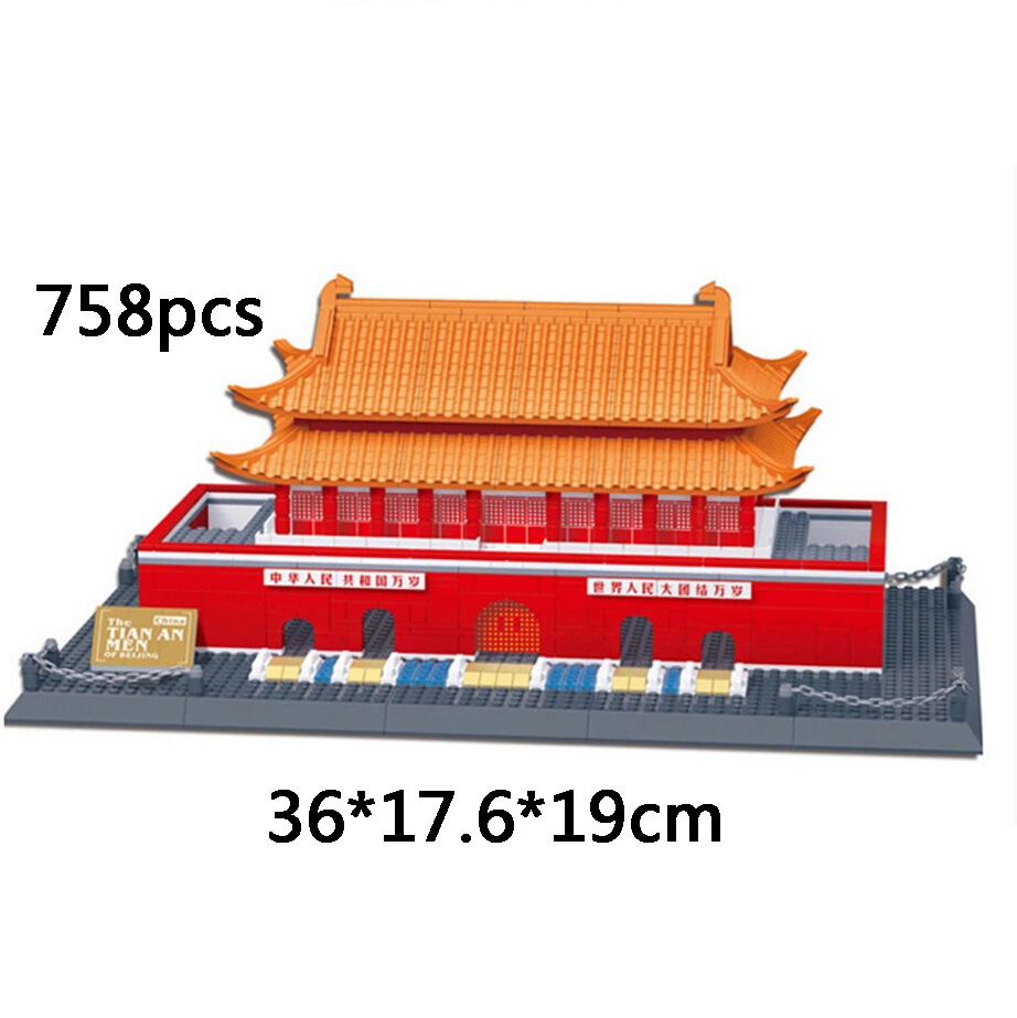 ФОТО Hot World famous Architecture Beijing Tiananmen Peking China building block model compatible withlego.city bricks toys kids gift