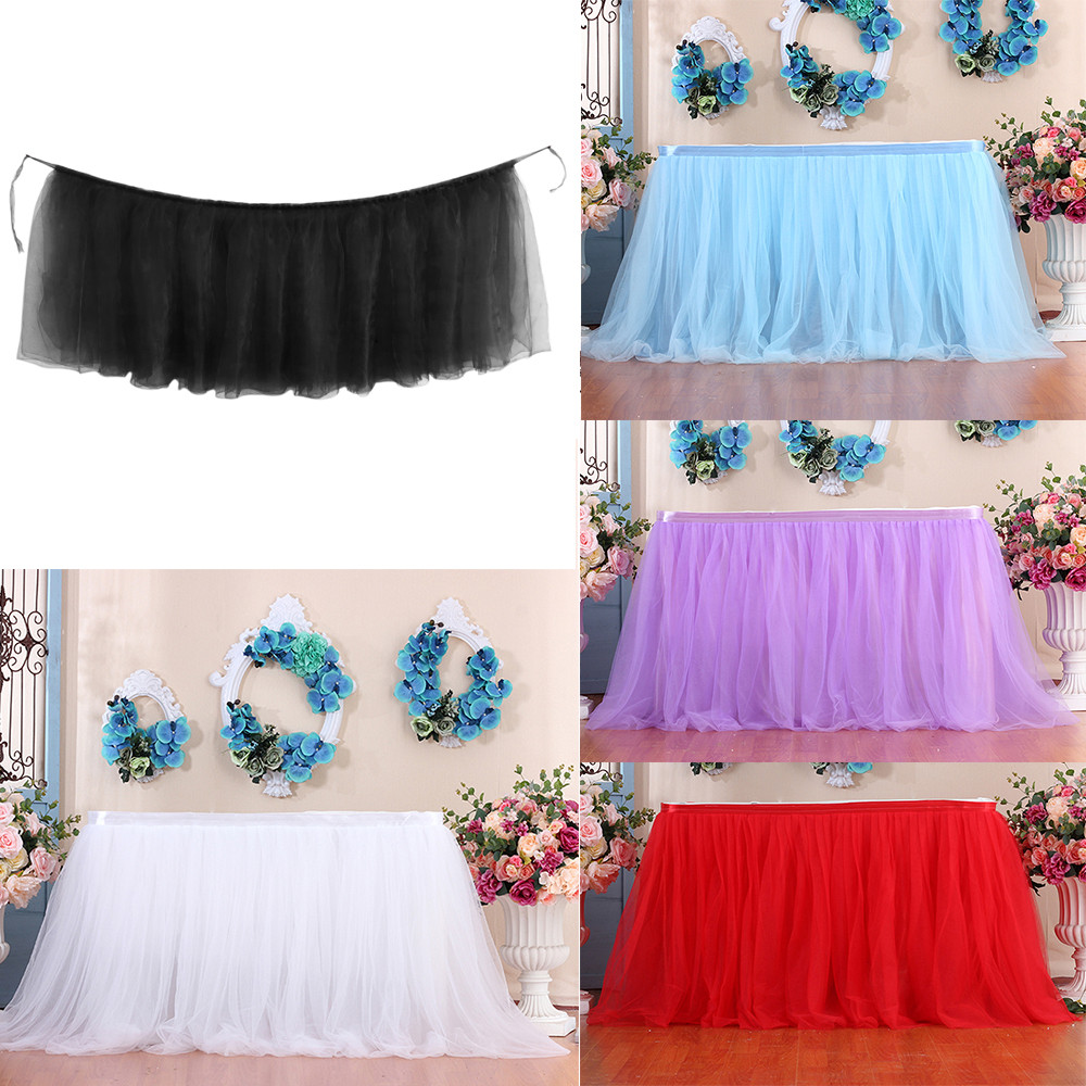 1pc Table Skirt Cover Tutu Tulle Table Skirt Birthday Wedding Christmas Festive Party Decor Table Cloth Tableware #K3